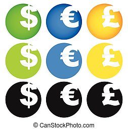 Dollar, Euro and Pound symbols in circles