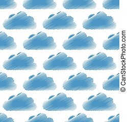 Sketchy (doodle) cloud pattern with round, cumulus clouds....