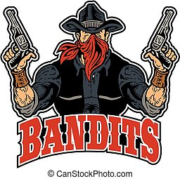 bandits design with muscular bandit holding pistols