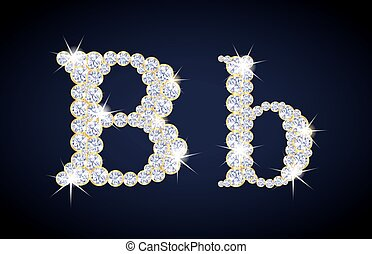"Letter ""B"" composed from diamonds with golden frame. Complete alphabet set."