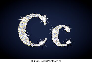 "Letter ""C"" composed from diamonds with golden frame. Complete alphabet set."