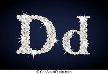 "Letter ""D"" composed from diamonds with golden frame. Complete alphabet set."