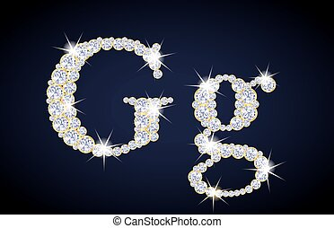 "Letter ""G"" composed from diamonds with golden frame...."