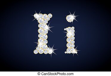 "Letter ""I"" composed from diamonds with golden frame. Complete alphabet set."