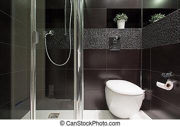 negro, azulejos, en, el, cuarto de baño,