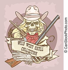 Wild West skull label - Wild West label with ribbon banner...