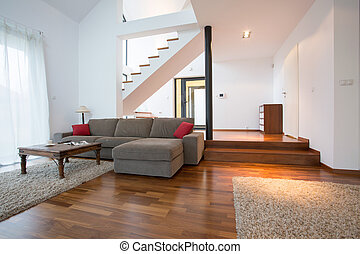 Two storey house - Modern design of living room in two...