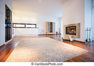 Big soft carpet on wooden floor in spacious living room