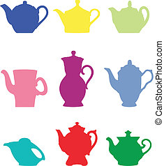 Teapot. Set of colour silhouettes. Vector art in EPS format.
