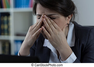 Business worker with sinus pain - Business worker at office...