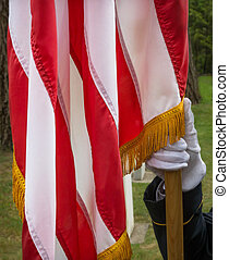 Honor Giard and Flag - Military Honor Guard holding the...