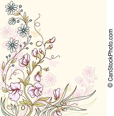Background with sweet pea - Floral summer vector background...