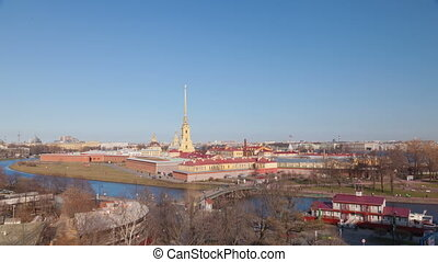 Peter and Paul Fortress day timelapse in Saint Petersburg in...