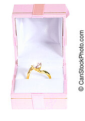 Ring in box - gold ring with stone in pink box isolated on...