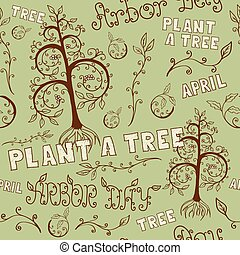 Arbor Day Hand Drawn Seamless Floral Pattern - Floral hand...