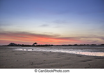 Algarve Cavacos beach twilight landscape at Ria Formosa wetlands reserve, southern Portugal.