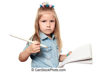 Attentive child - The girl is going to draw