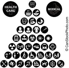 Medical and health care Icon collec - Black and white...