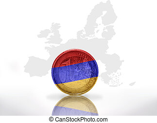 euro coin with armenian flag on the european union map background