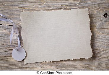 art Notice card, white paper on wood background