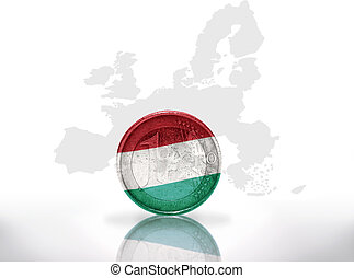 euro coin with hungarian flag on the european union map...