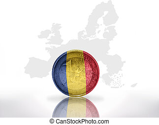 euro coin with romanian flag on the european union map background