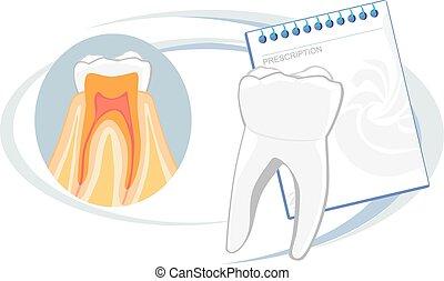 Healthy teeth. Prescription. Vector illustration