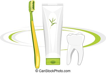Toothbrush and organic toothpaste Vector illustration