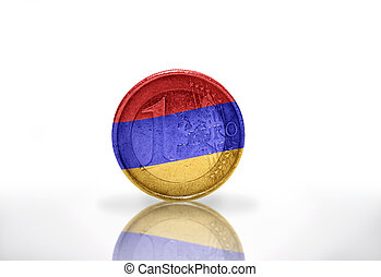 euro coin with armenian flag on the white background