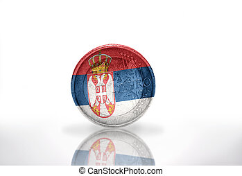 euro coin with serbian flag on the white background