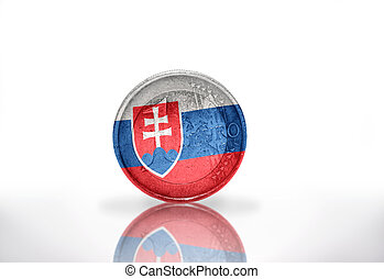 euro coin with slovak flag on the white background