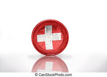 euro coin with swiss flag on the white background
