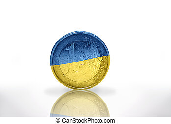 euro coin with ukrainian flag on the white background