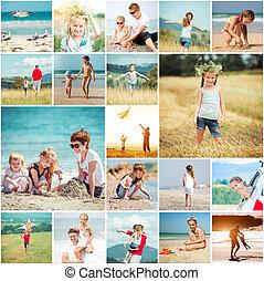 夏天, 他的, 家庭, 拼貼藝術, 假期, 相片