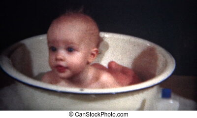 8mm Film 1950 Baby in a Bath Tub - A unique vintage 8mm home...