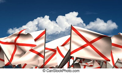 Waving Alabama State Flags seamless alpha channel