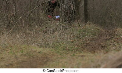 EDITORIAL One Cyclist Moving Fast In Forest - SIMFEROPOL...