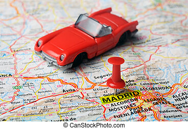 Madrid ,Spain map cabrio - Close up of Madrid ,Spain map red...