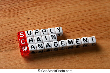 SCM Supply Chain Management written on dices on wooden...