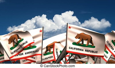 Waving California State Flags seamless alpha channel