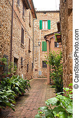 Beautiful street of Pienza in Tuscany