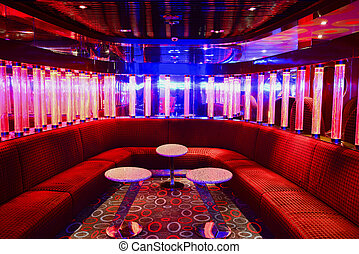 Red VIP club interior with beautifull lighting