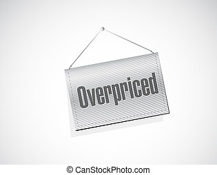 overpriced hanging sign concept illustration design over...