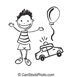 Illustration of hand drawn boy with toys