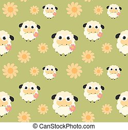 Seamless pattern with flat sheep on green background