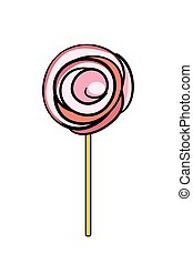 Illustration of pink doodle lollypop isolated on white...
