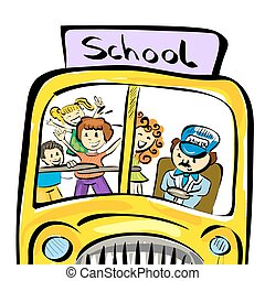 Illustration of doodle school bus with kids