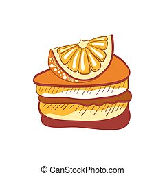 Illustration of doodle orange cake slice isolated on white...