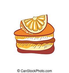 Illustration of doodle orange cake slice isolated on white...