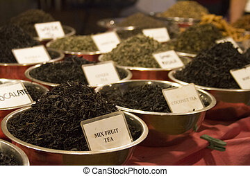 Different tea flavors found in flea market, India -...